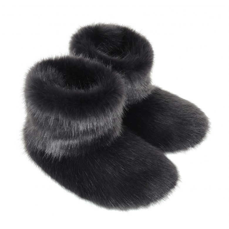 Charcoal Faux Fur Slipper Boots available to order.